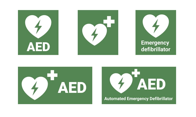 Aed notfalldefibrillator. automatisierter externer defibrillator.