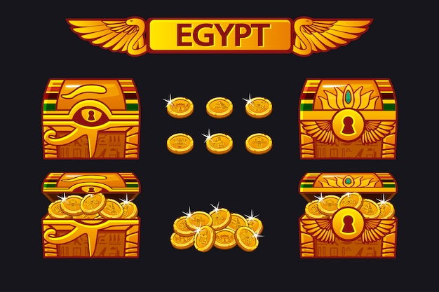 Ägypten antike schatztruhe und goldene münzen