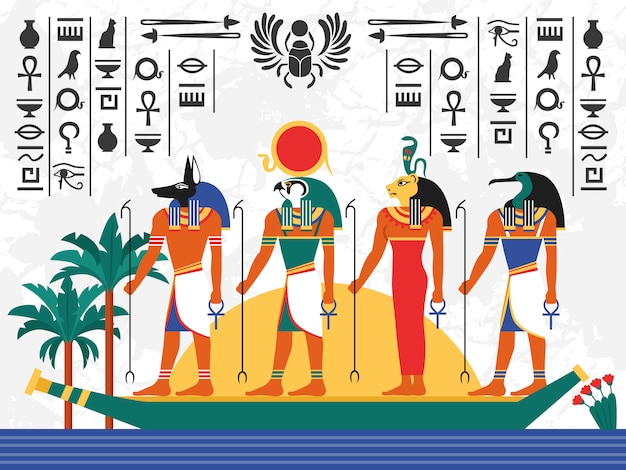 Ägypten flache bunte illustration