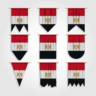 Ägypten flagge in verschiedenen formen, flagge von ägypten in verschiedenen formen