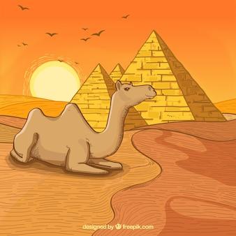 Ägypten-hintergrund mit gezeichnetem design der landschaft in der hand