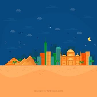 Ägypten-hintergrund mit landschaft im flachen design