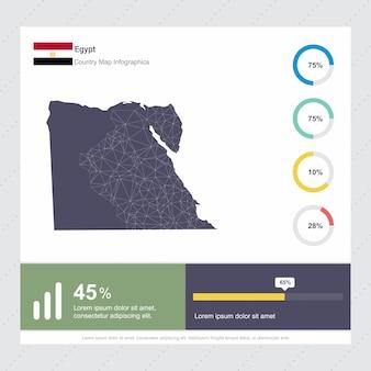 Ägypten karte & flagge infografik vorlage