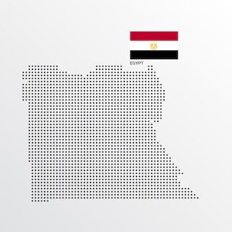 Ägypten-kartenentwurf mit flaggen- und hellem hintergrundvektor