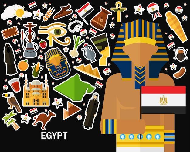 Ägypten-konzepthintergrund flache ikonen