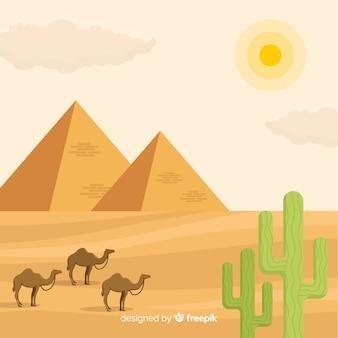 Ägypten-landschaft mit pyramiden und wohnwagen