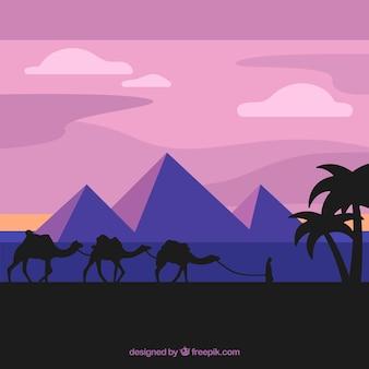 Ägypten landschaft mit wohnwagen