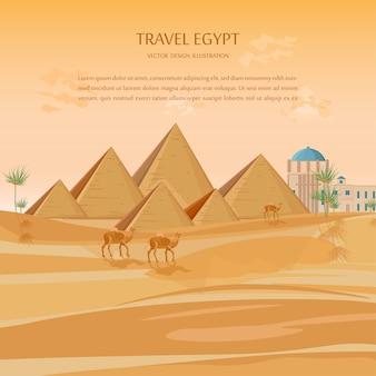 Ägypten pyramiden kartenhintergrund