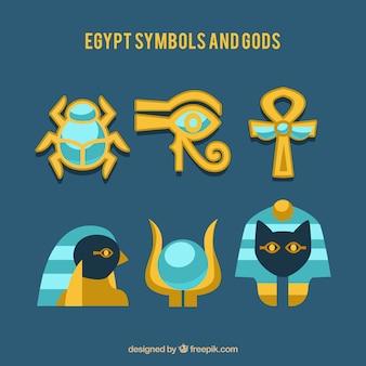 Ägypten symbole und götter sammlung mit flachen design