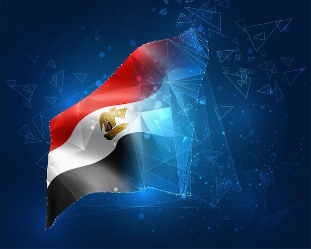 Ägypten, vektorflagge, virtuelles abstraktes 3d-objekt aus dreieckigen polygonen auf blauem hintergrund