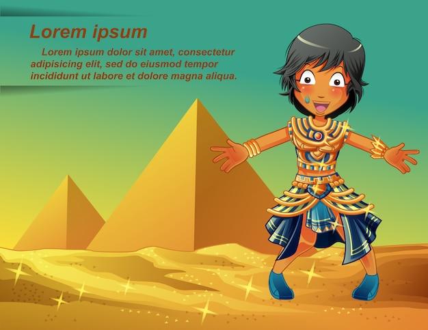 Ägypter charakter auf pyramiden hintergrund.