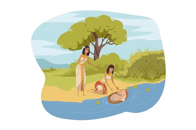 Ägypter finden moses, bibelkonzept