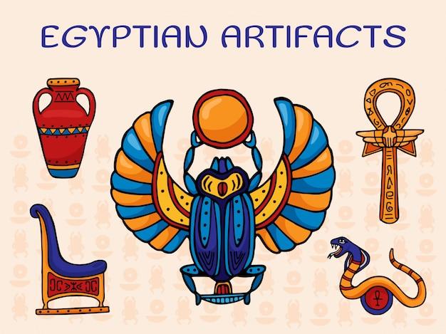 Ägyptische artefaktillustration. eine reihe von heiligen symbolen und dekorationen der alten ägypten skarabäus, vase, kreuz mit ankh ring, schlange und thron.