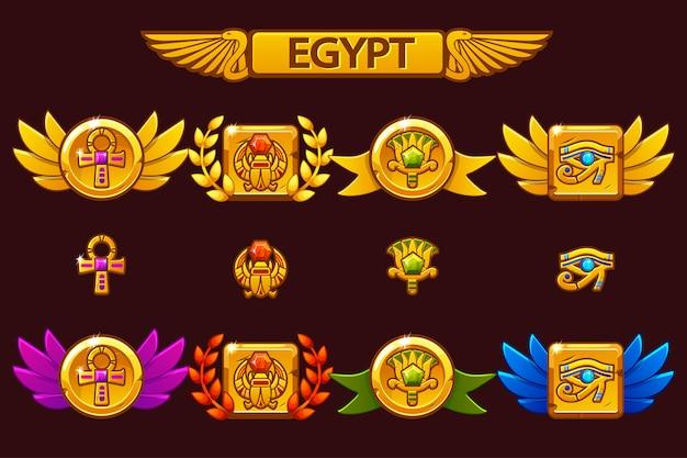 Ägyptische auszeichnungen mit skarabäus, auge, blume und kreuz. erhalten sie die leistung des cartoon-spiels mit farbigen edelsteinen.
