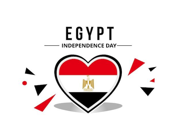 Ägyptische flagge mit originalfarbe in herzverzierung