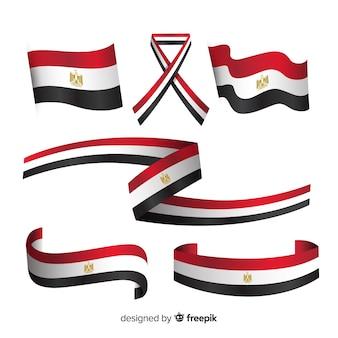 Ägyptische flaggensammlung mit flachem design