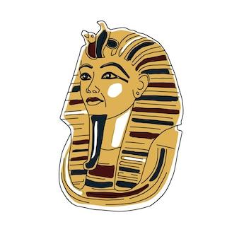 Ägyptische goldene pharaonen-maskensymbol flach isoliert auf weißer hintergrundvektorillustration