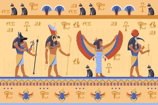 Ägyptische gottheiten auf altem basrelief mit hieroglyphen. karikaturillustration.