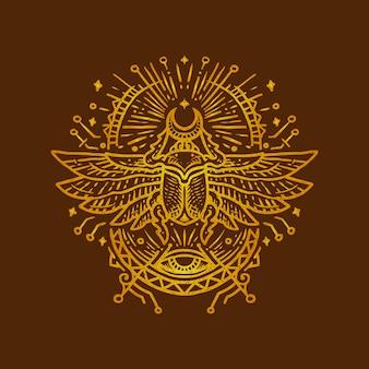 Ägyptische käfer-monoline-weinleseillustration