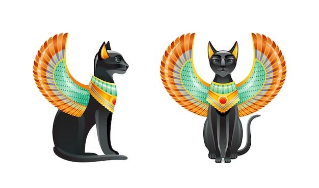 Ägyptische katzen. bastet göttin. schwarze katze mit skarabäusflügel und goldener halskette. statuette aus der alten ägyptischen kunst.