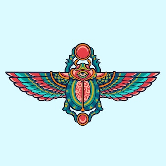 Ägyptische skarabäuskäferillustration