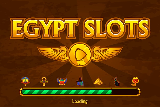 Ägyptische slots auf hintergrund- und kasinosymbolen. button spielen und spiel laden