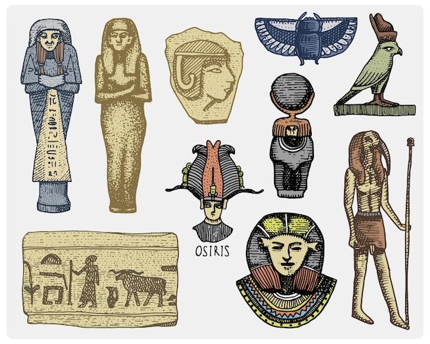 Ägyptische symbole, pharaon, scorob, hieroglyphen und osiris kopf, gott vintage, gravierte hand gezeichnet in skizze oder holzschnitt-stil, alt aussehende retro, isolierte realistische illustration.