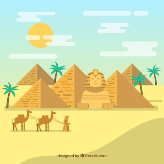 Ägyptische wüstenlandschaft mit pyramiden und wohnwagen
