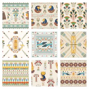 Ägyptischer dekorativer nahtloser musterhintergrund-vektorsatz