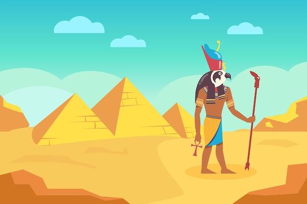 Ägyptischer gott mit spazierstock, umgeben von alten pyramiden. karikaturillustration.