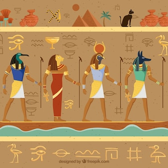 Ägyptischer hieroglyphenhintergrund mit flachem design