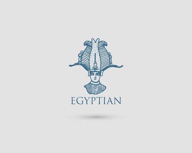 Ägyptisches logo mit symbol pharaon osiris der alten zivilisation vintage, gravierte hand gezeichnet in skizze oder holzschnittart, alt aussehende retro