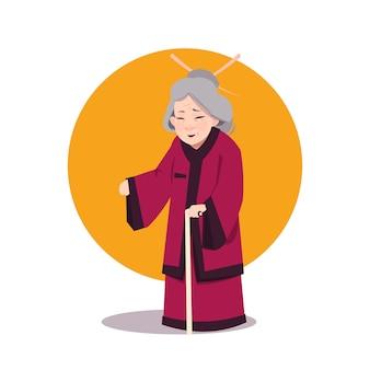 Ältere asiatische frau im japanischen kimono