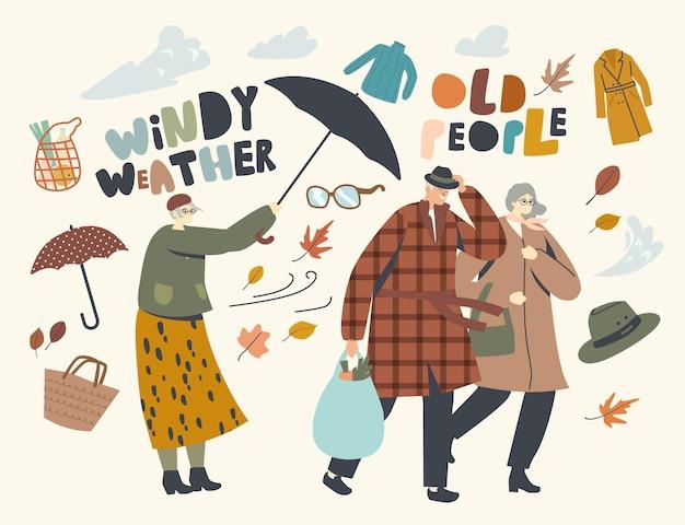 Ältere charaktere, die mit starkem wind kämpfen, älteres paar mann und frau gehen bei windigem wetter, alte dame mit zerstörtem regenschirm, der versucht, sich vor sturm und regen zu schützen. lineare menschen-vektor-illustration