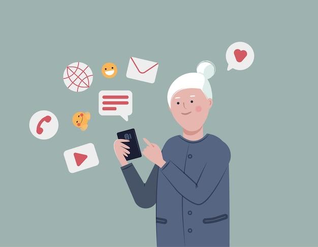 Ältere dame mit smartphone für soziale verbindung und unterhaltung sozial aktiver lebensstil