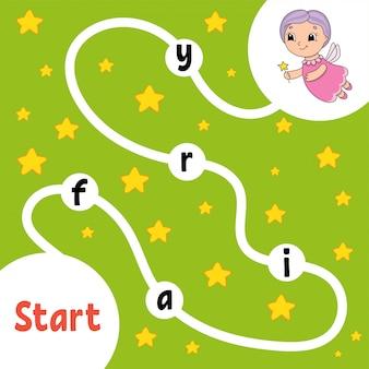 Ältere fee. logik-puzzle-spiel. wörter für kinder lernen.