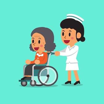 Ältere frau der karikatur im rollstuhl mit krankenschwester