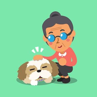 Ältere frau der karikatur und ihr hund