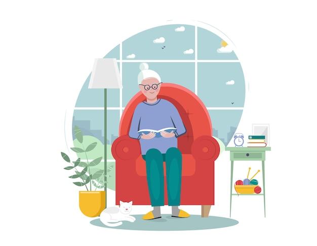 Ältere frau, die im sessel sitzt und buch liest literatur-fan-lifestyle-unterhaltung