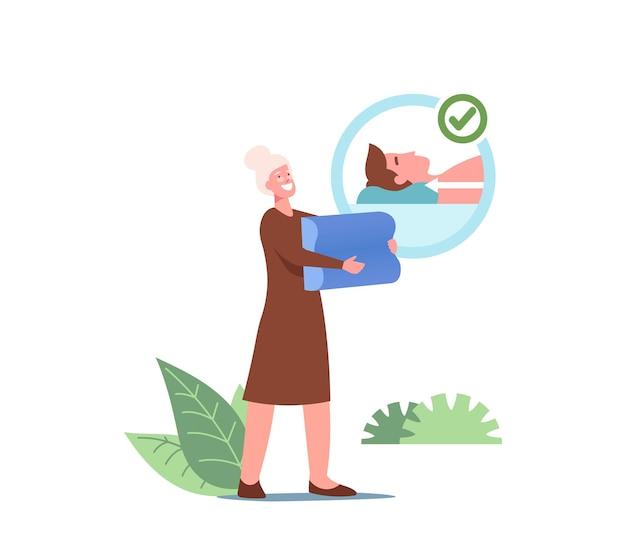 Ältere frau, die medizinisches orthopädisches kissen für gesunden bequemen schlaf hält. ältere weibliche figur mit schaumstoff- oder latexkissen mit memory-effekt. cartoon-menschen-vektor-illustration