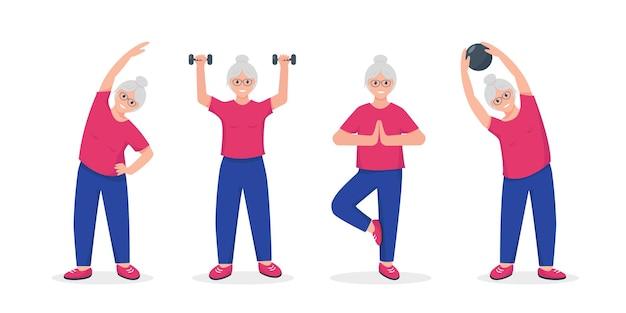 Ältere frau, die übungen macht. aktiver und gesunder lebensstil und fitness für rentner konzept.