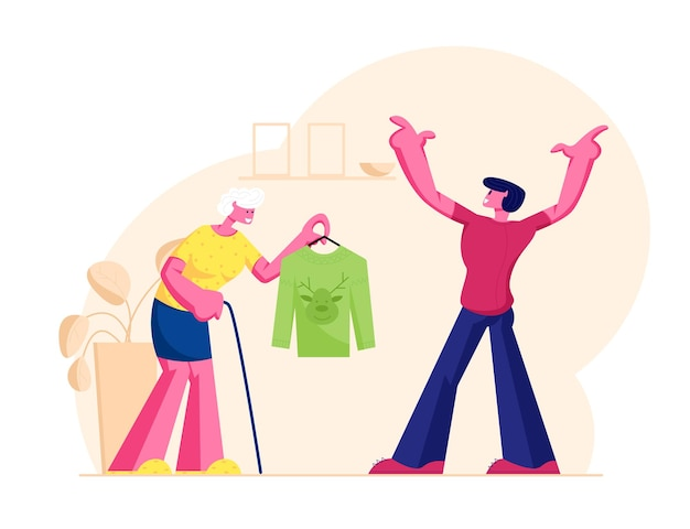Ältere frau großmutter mit spazierstock präsentiert traditionellen strickpullover mit rentierkopf. karikatur flache illustration
