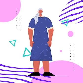 Ältere frau in lässiger trendiger kleidung senior weibliche zeichentrickfigur stehende pose alterskonzept