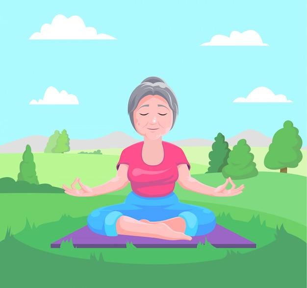 Ältere frau meditiert, sitzend auf teppich
