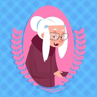 Ältere frau mit chatblase-moderner großmutter-ikonen-dame