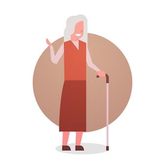 Ältere frau mit stock glücklich lächelnde großmutter grey hair female icon in voller länge dame