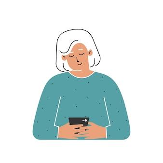 Ältere frau schreibt nachricht auf smartphone