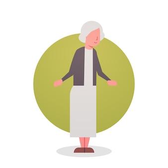Ältere frauen-großmutter gray hair female icon-dame in voller länge