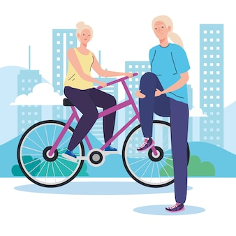 Ältere frauen machen verschiedene aktivitäten und hobbys.