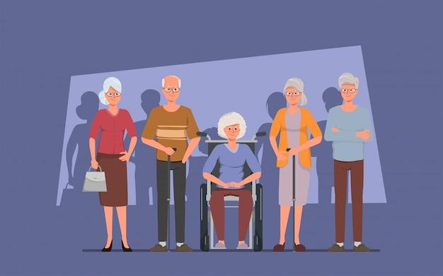 Ältere gruppenfreundcharakterältere menschen.